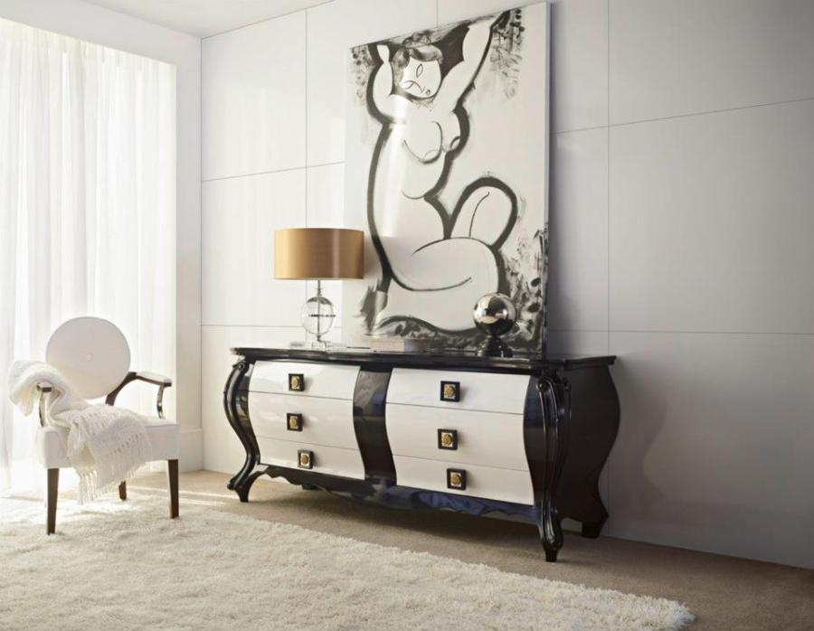 Cómoda blanca y negra - Villalba Interiorismo