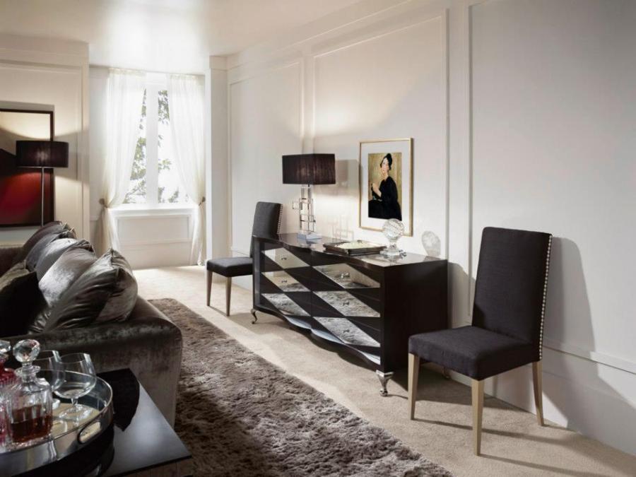 Cómoda negra, cristal y plata - Villalba Interiorismo
