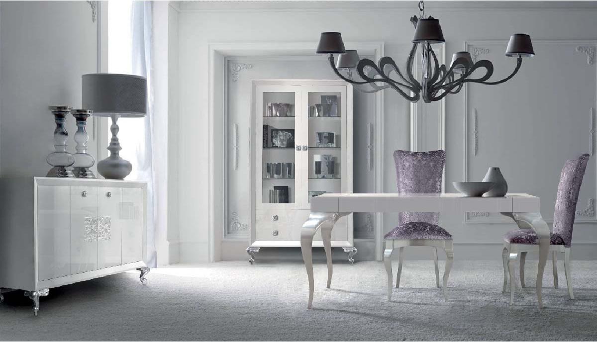 Elegante sal n y comedor blanco y plata villalba for Dormitorios modernos en blanco y plata