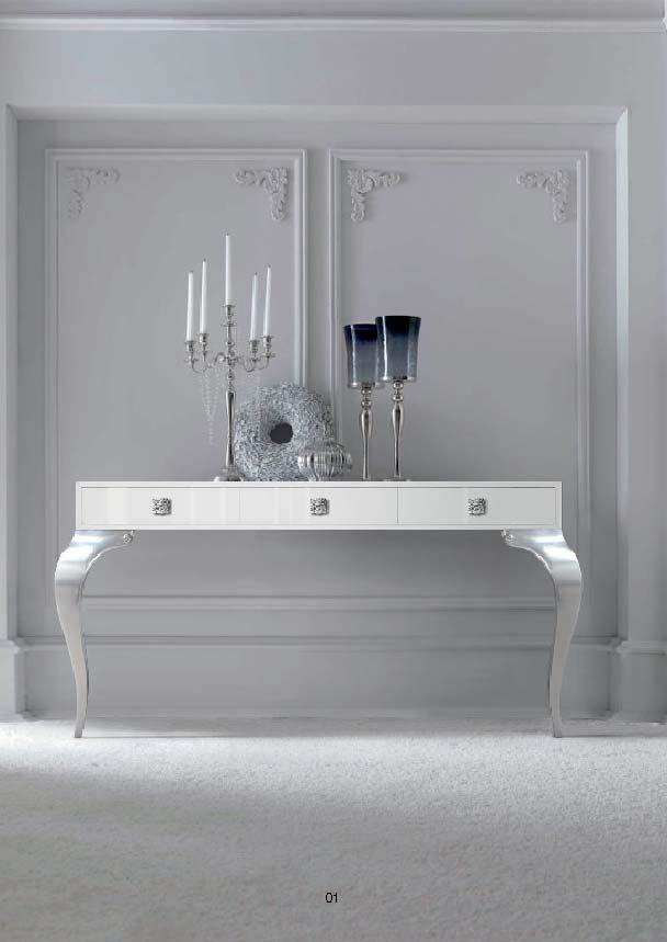 Consola laca blanca con patas plata - Villalba Interiorismo