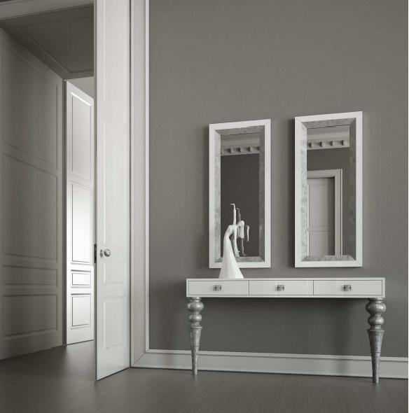 Consola laca blanca y patas plata envejecida - Villalba Interiorismo