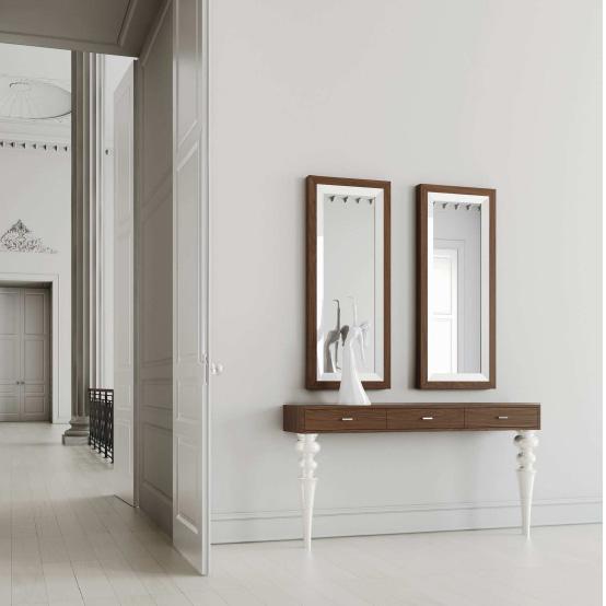 Consola madera y patas laca blanca - Villalba Interiorismo