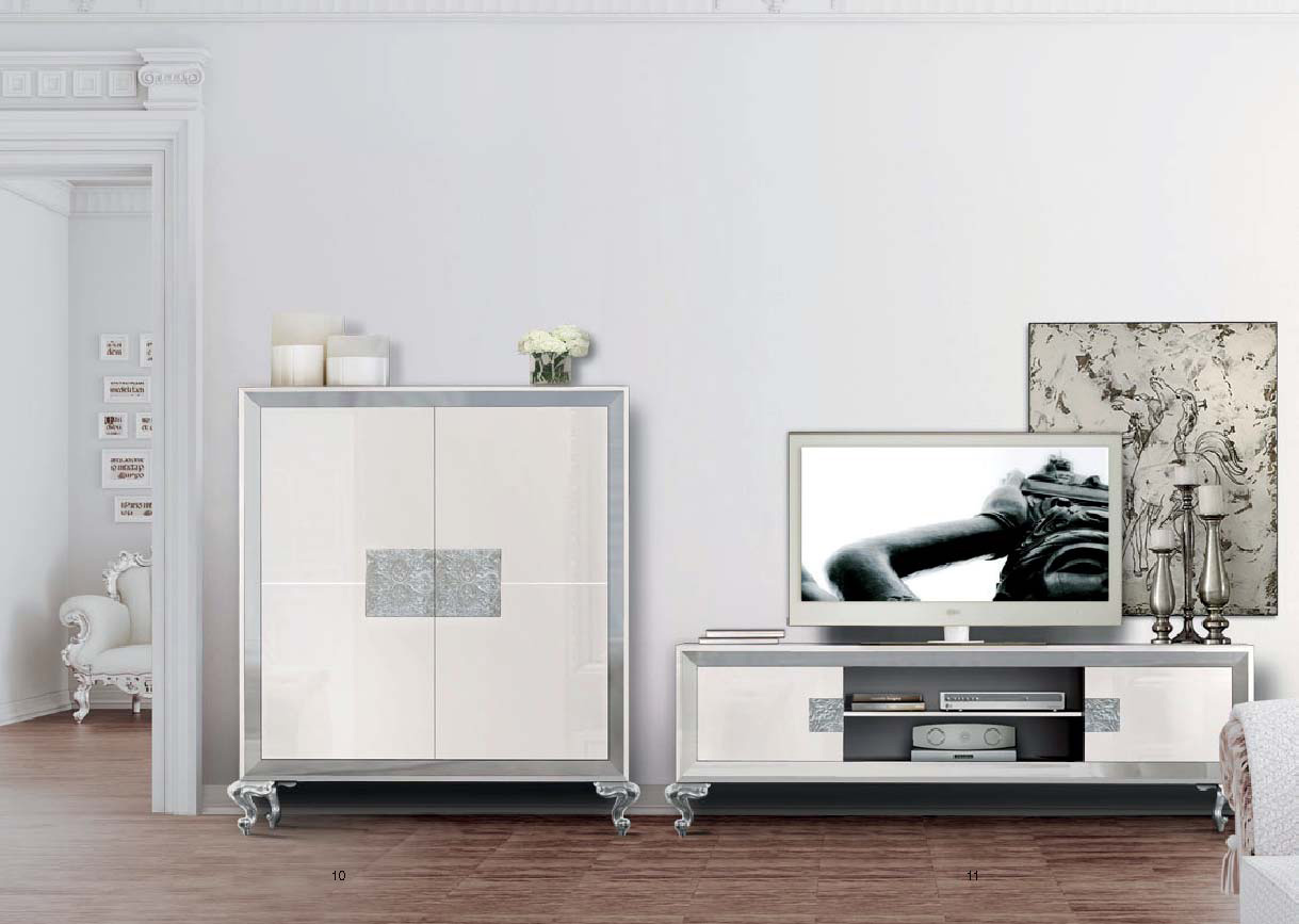 Elegante sal n y comedor blanco y plata villalba for Mueble tv lacado blanco