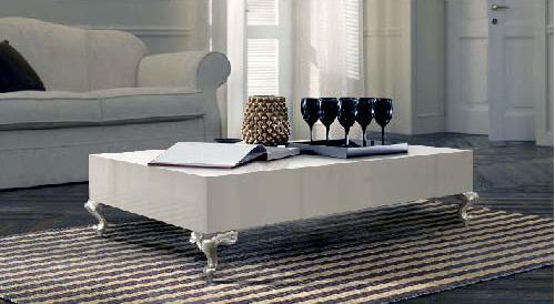 mesa centro blanca y plata villalba