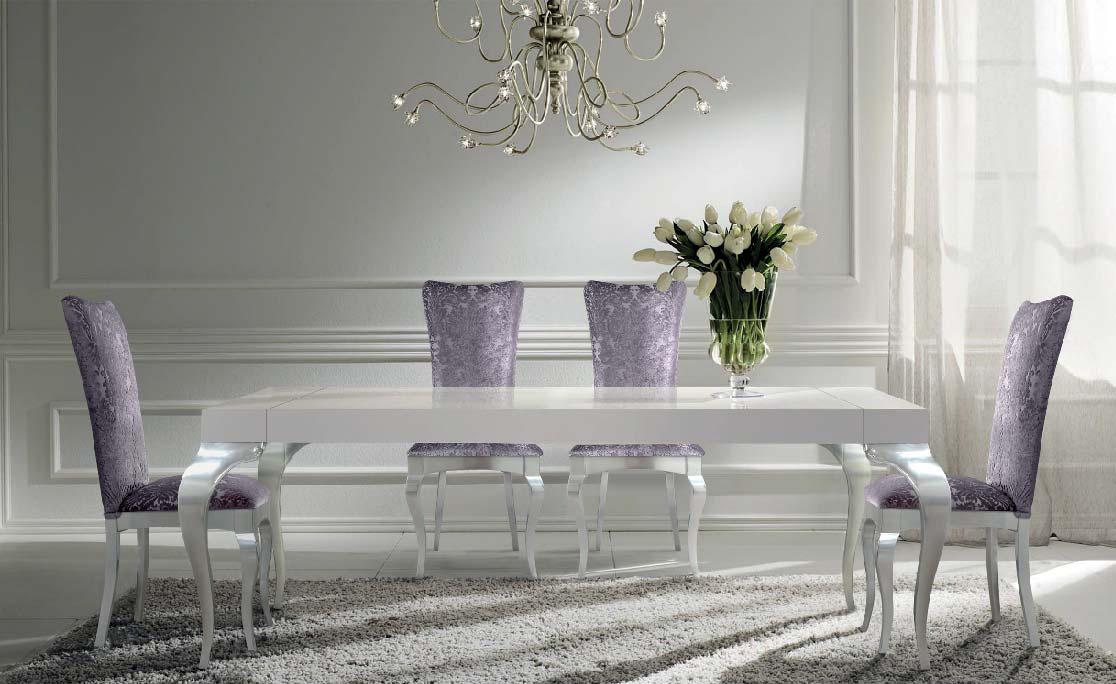 Elegante sal n y comedor blanco y plata villalba for Comedores modernos color blanco
