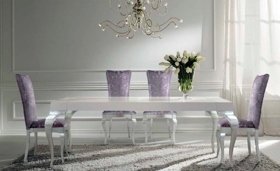 Mesa lacada blanca y plata - Villalba Interiorismo