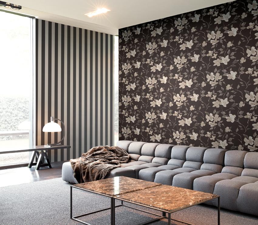 Papel pintado flores blanco y negro - Villalba Interiorismo