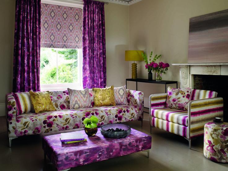 Salón con textiles estampados - Villalba Interiorismo