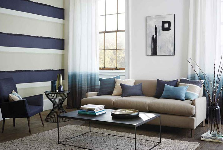 Salón en color azul - Villalba Interiorismo