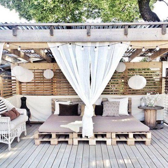 Terraza con telas outdoor - Villalba Interiorismo