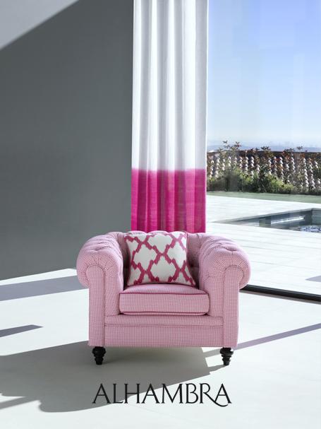 Visillo lino rosa frambuesa - Villalba Interiorismo