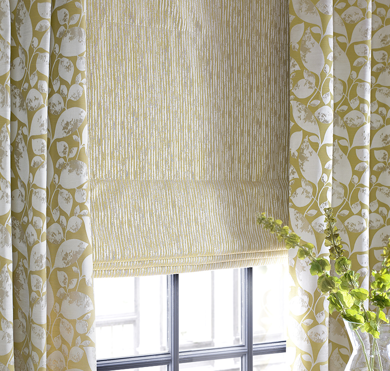 Cortinas en amarillo y beige - Villalba Interiorismo