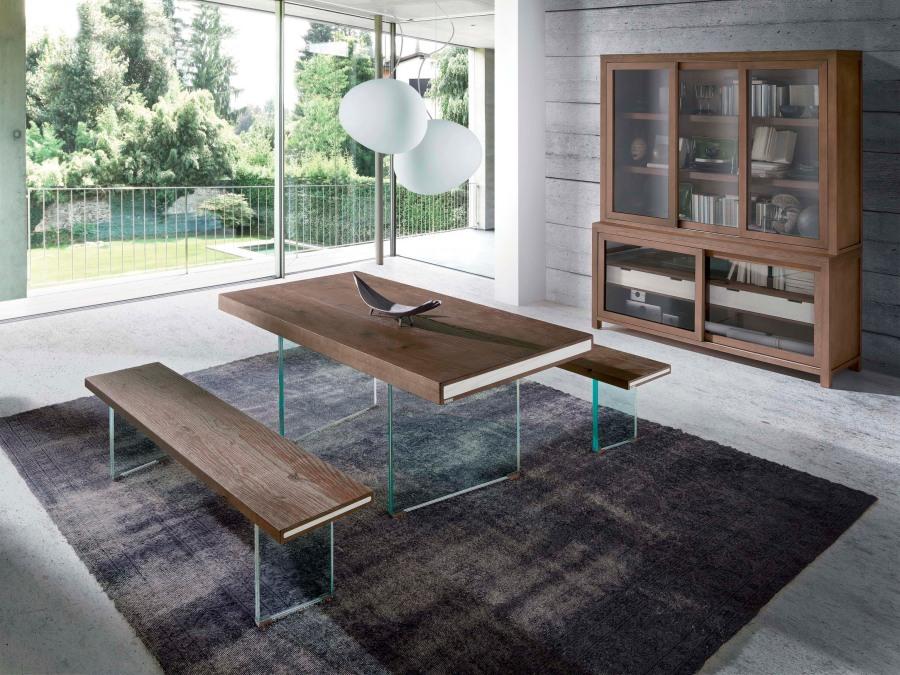 Mesa comedor madera de mobila con patas cristal - Villalba Interiorismo