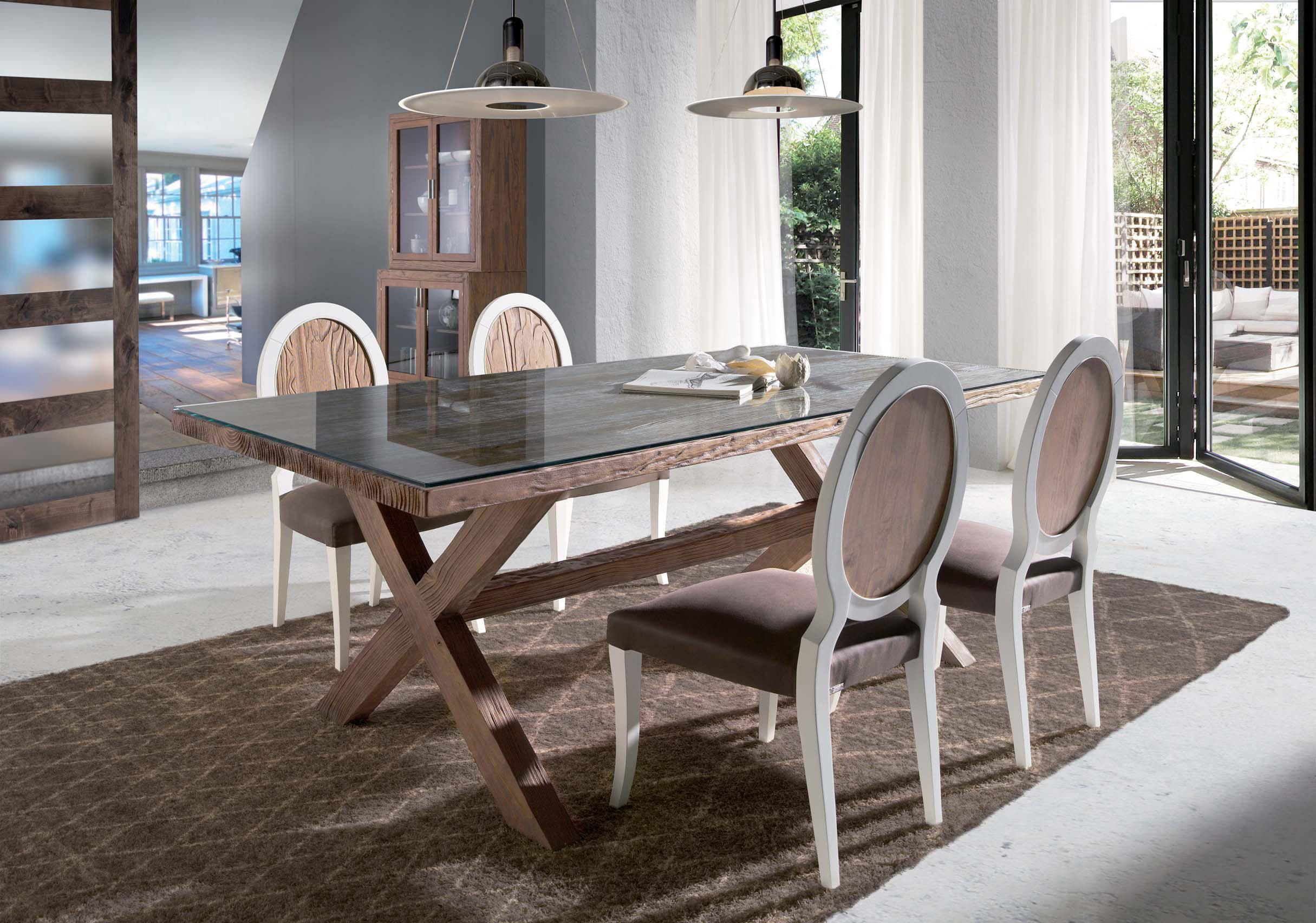 Mesas comedor con aire r stico villalba interiorismo for Mesas de comedor cristal y madera