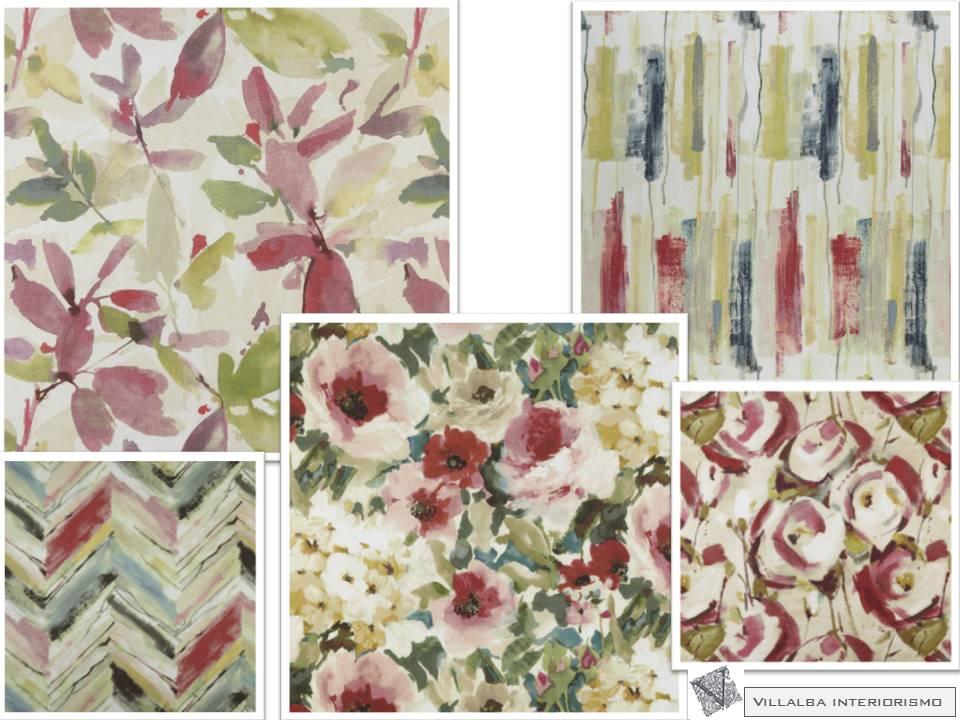 Coordinados de telas en rosas y verde villalba interiorismo - Telas estampadas para cortinas ...