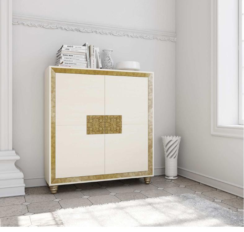 Mueble contenedor blanco y dorado - Villalba Interiorismo
