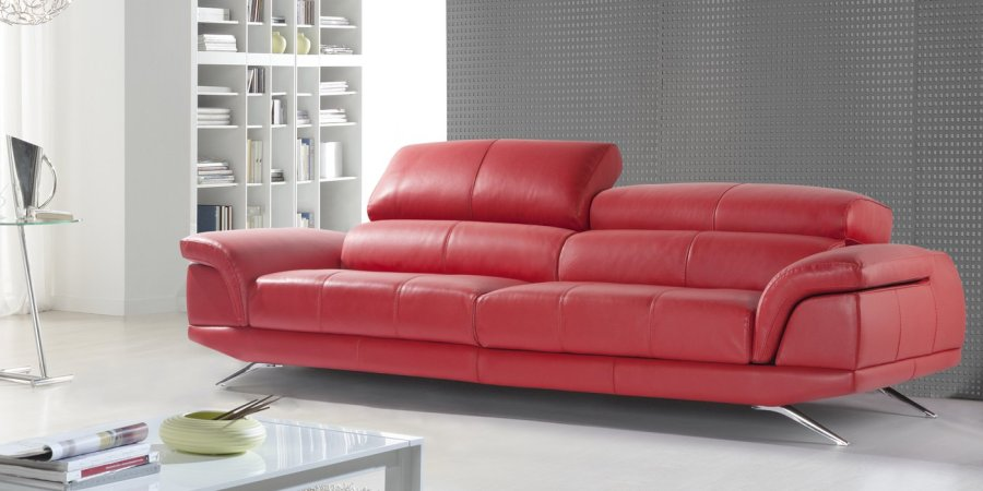 Sofá rojo piel - Villalba Interiorismo