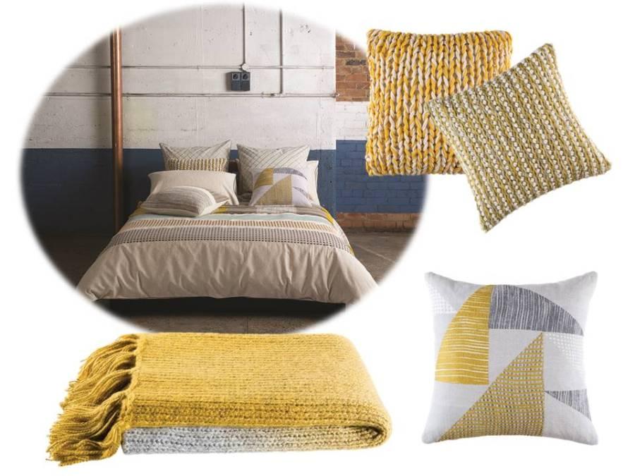 Funda nórdica, manta y cojines en amarillo - Villalba Interiorismo
