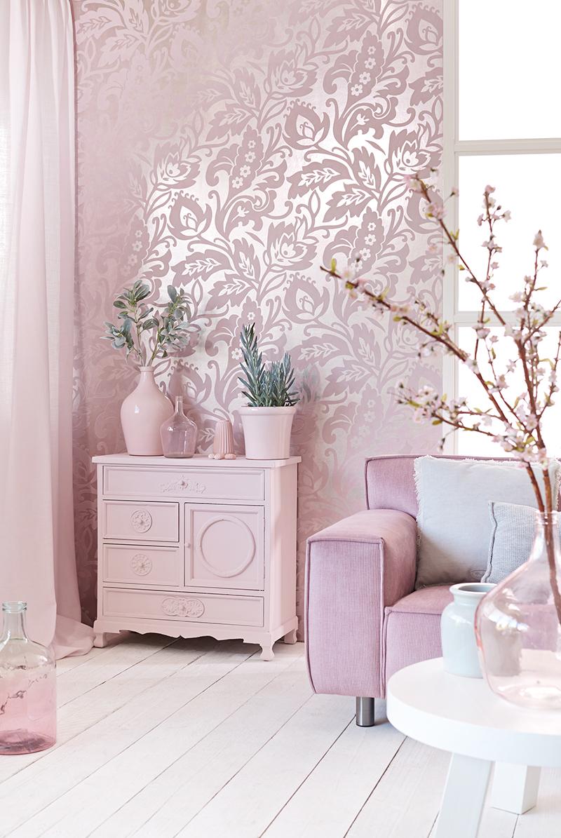 Un papel pintado con textura y brillos en tonos pastel villalba interiorismo - Papel pintado con textura ...