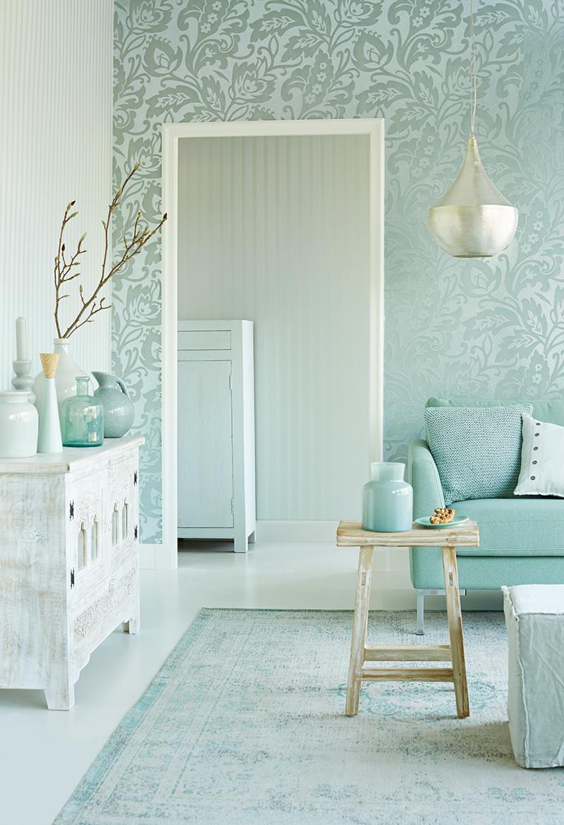 Un papel pintado con textura y brillos en tonos pastel - Papeles pintados de pared ...