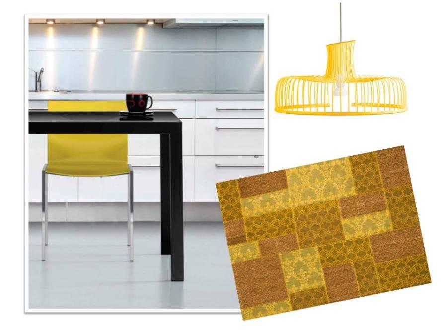 Silla, lámpara y alfombra en amarillo - Villalba Interiorismo
