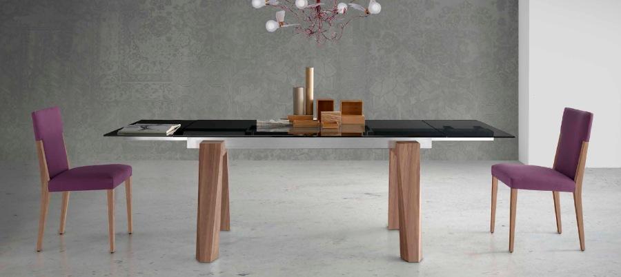 Mesa extensible madera y cristal - Villalba Interiorismo