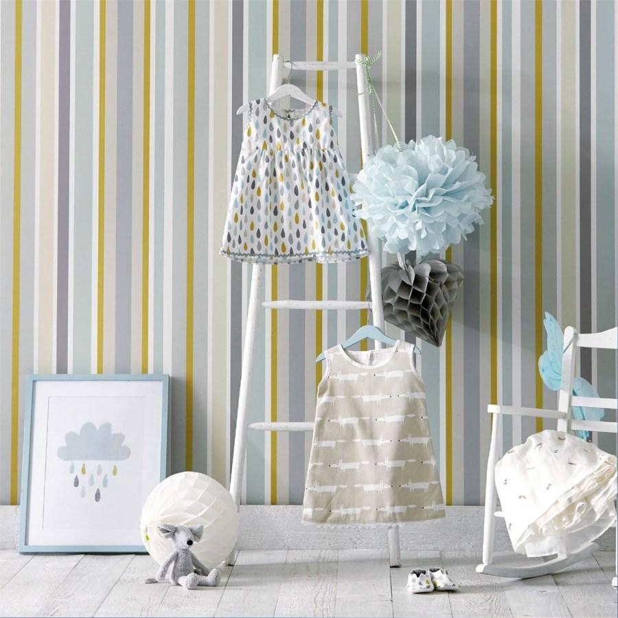 Papel pintado rayas dormitorio bebé - Villalba Interiorismo