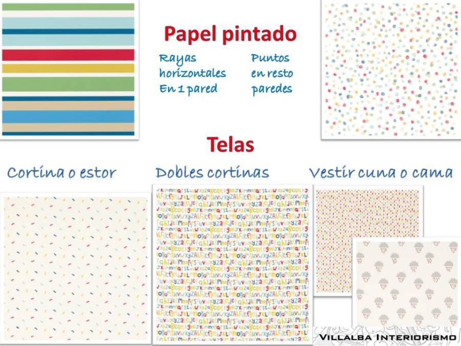 Telas y papeles pintados dormitorio infantil 2 - Villalba Interiorismo