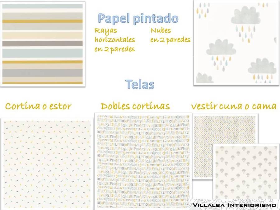 Telas y papeles pintados dormitorio infantil - Villalba Interiorismo