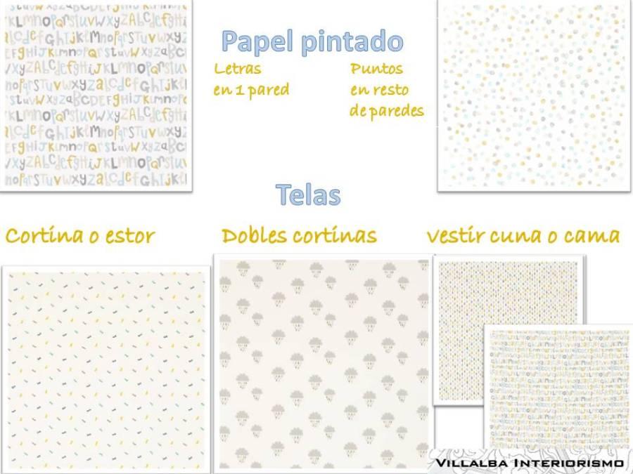 Telas y papeles pintados dormitorio infantil1- Villalba Interiorismo