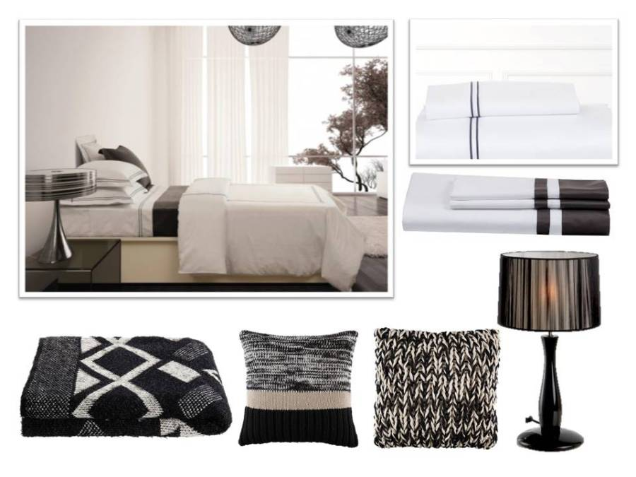 Funda nórdica, sábanas, cojines en blanco y negro - Villalba Interiorismo