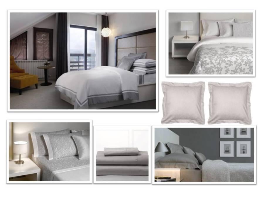 Funda nórdica. sábanas y edredón blanco y gris de Bassols - Villalba Interiorismo