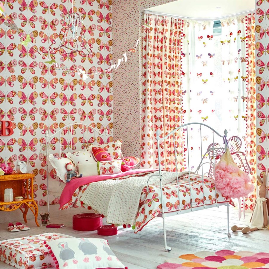 Dormitorio de mariposas para niñas - Villalba Interiorismo