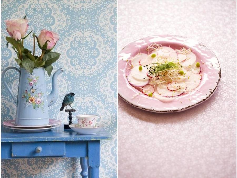 Papeles pintados rosa y azul de Pantone - Villalba Interiorismo