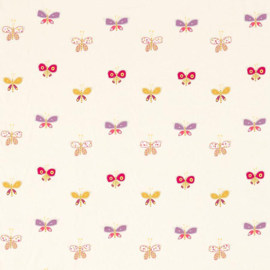 Tela bordada de mariposas . Villalba Interiorismo