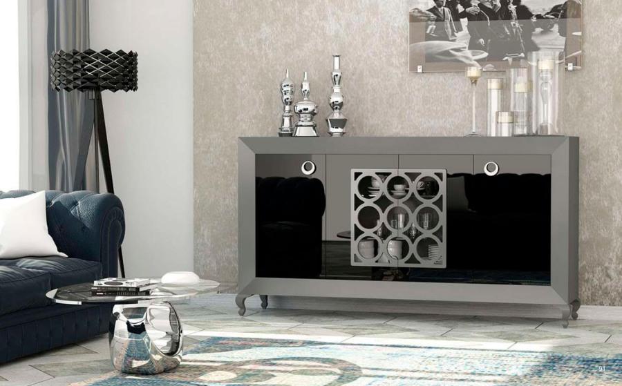 Mueble para el sal n lacado en negro y gris villalba for Muebles de salon lacados