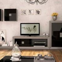 Mueble para el salón lacado en negro y gris