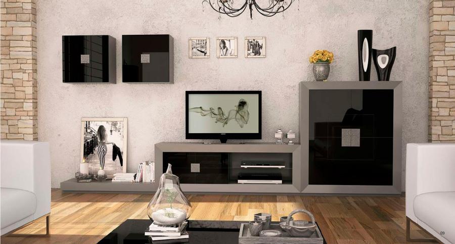 Mueble TV lacado en negro y gris - Villalba Interiorismo