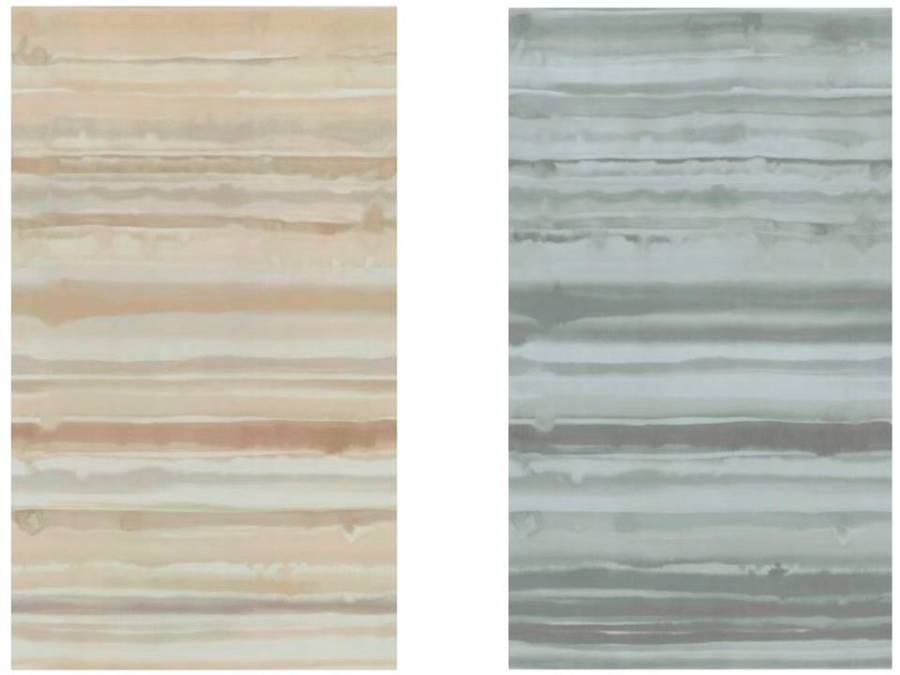 Cortina visillo en beige y gris - Villalba Interiorismo