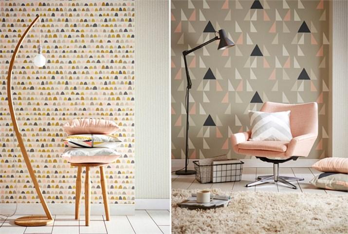 Papeles pintados con dibujos geométricos - Villalba Interiorismo