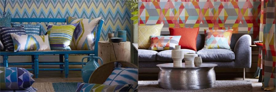 Papeles pintados dibujos geométricos con color - Villalba Interiorismo