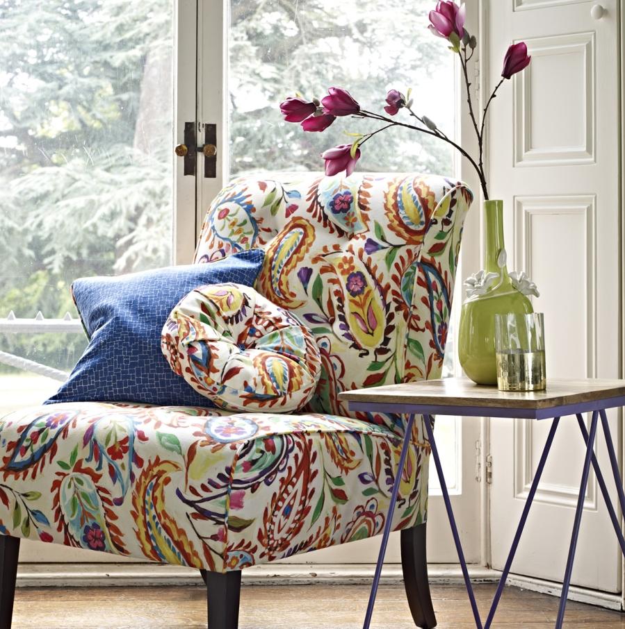 Sillón tapizado de cachemir - Villalba Interiorismo