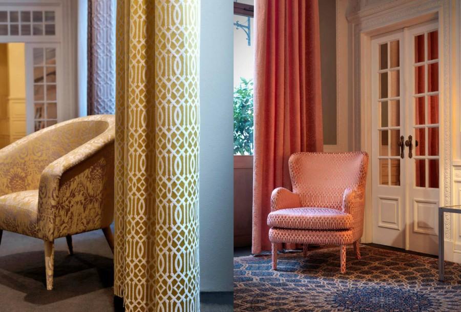 Telas de tapicería dibujos geométricos - Villalba Interiorismo