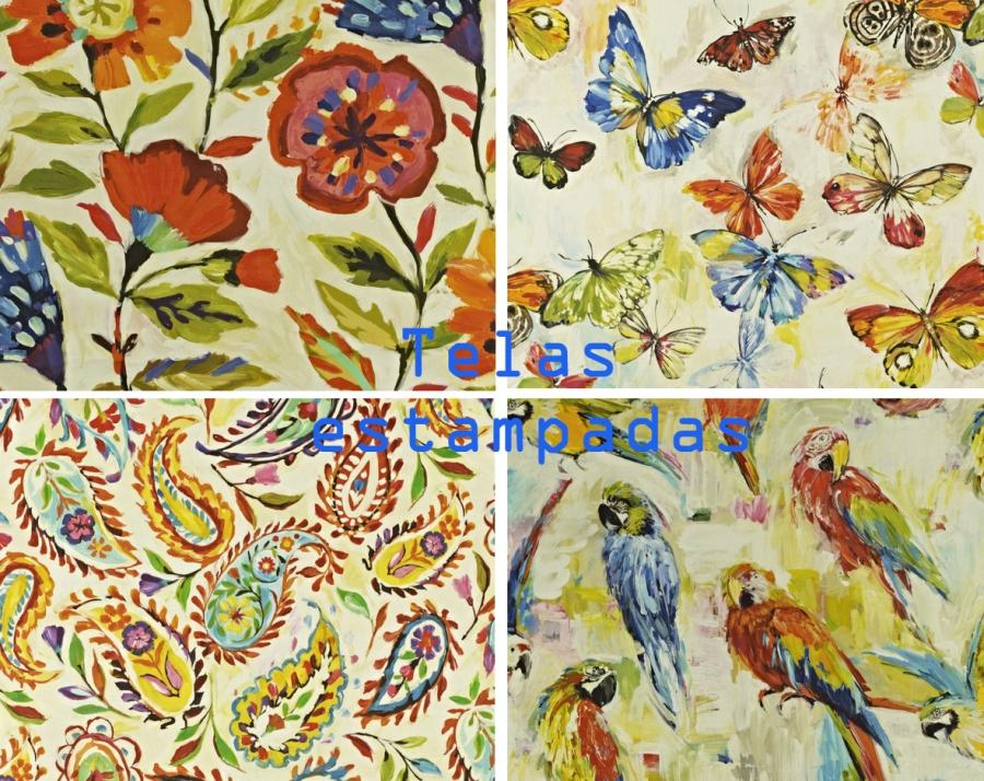 Telas estampada de flores, mariposas, cachemir y pájaros - Villalb Interiorismo