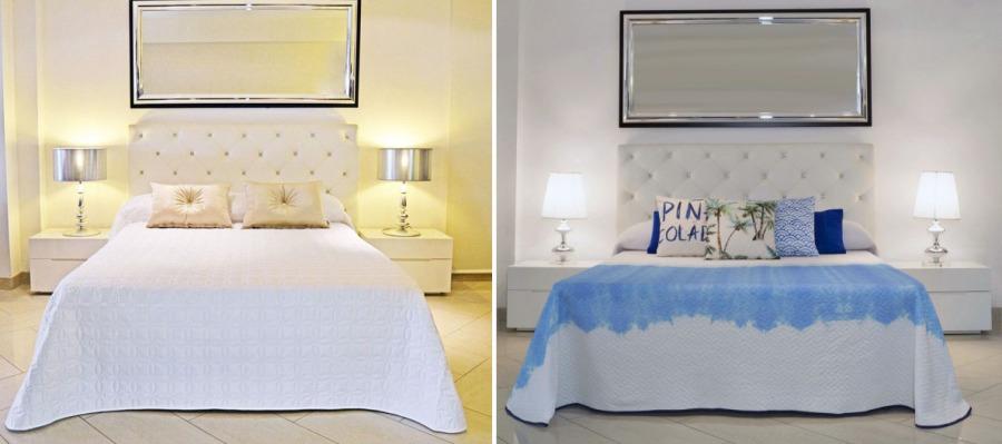 Boutis blanco y azul - Villalba Interiorismo