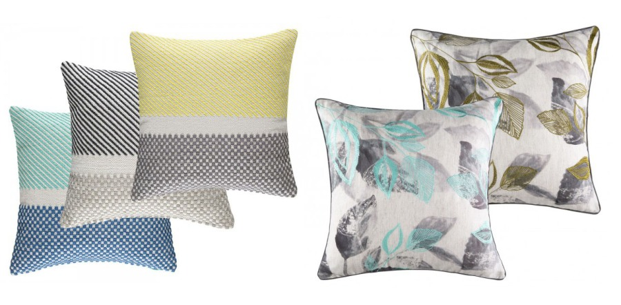 Cojines bordados azul y amarillo - Villalba Interiorismo