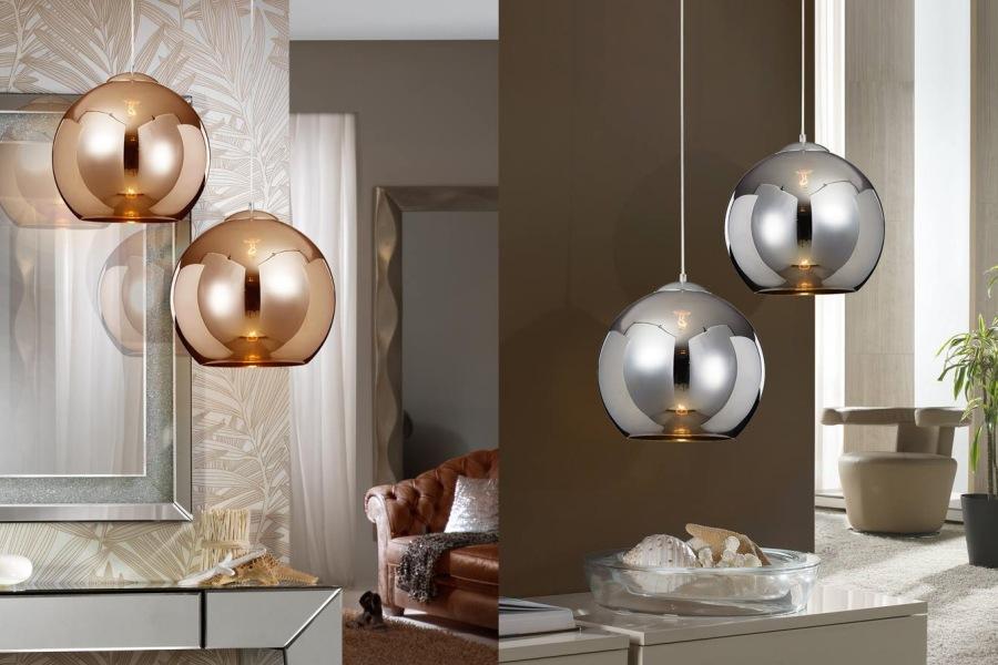 Colgante Esfera cromo y cobre Schullers - Villalba Interiorismo