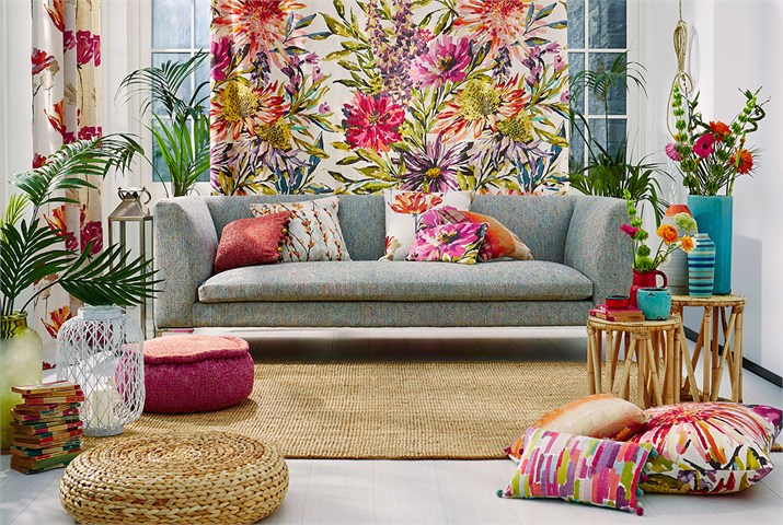 Cortina estampada flores - Villalba Interiorismo