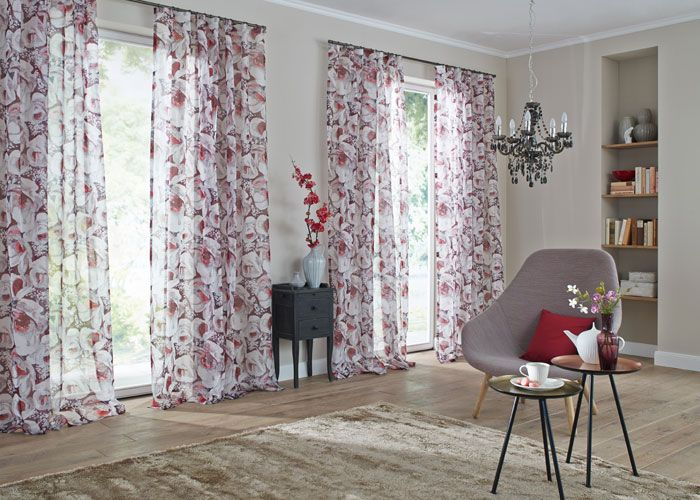 Visillos estampados de flores - Villalba Interiorismo