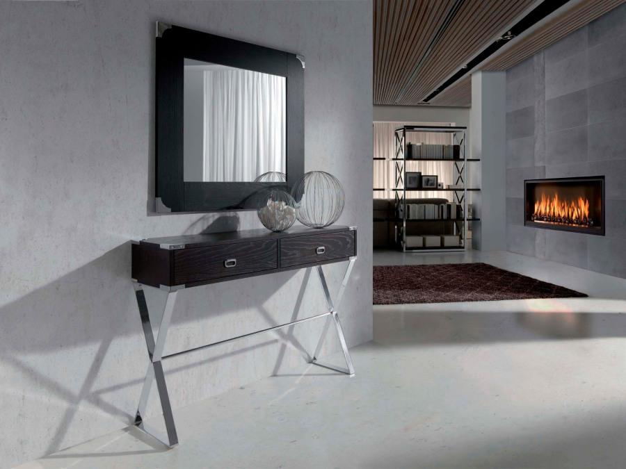 Consola madera con patas acero - Villalba Interiorismo